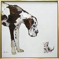 【代引き不可・お届けお時間指定不可】「ベストフレンド」Lサイズイヌ・いぬ・犬・ねこ・猫・ネコ・動物・油絵・ハンドメイド・オイルペイントモダンアート[絵画通販]【絵のある暮らし】【壁掛けフック付き】