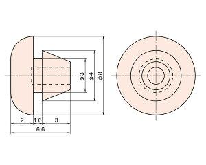 PG-7RB-316差し込み型バンパーRB型径3×1.6mm1袋(10個)【ジョー・プリンス竹下