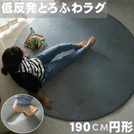 ラグ 撥水 さらさら無地のフランネルラグ 円形 直径約190cm (約2畳)  低反発タイプ 防音マット こたつ敷 対応