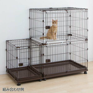 キャットケージ2段スペース付きコンビネーションサークルキャットゲージ猫ケージゲージ猫用ケージハウス室内飼い猫ネコねこキャット猫用ペットケージペットケージ2段扉付きキャスター付ブラウンP-CS-932アイリスオーヤマ