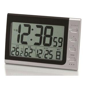 デジタル電波時計 ブラック&シルバー NA-816目覚まし時計 ウォッチ カレンダー デジタル アラーム 2度寝防止 電波 大画面 温度計 アデッソ 【D】