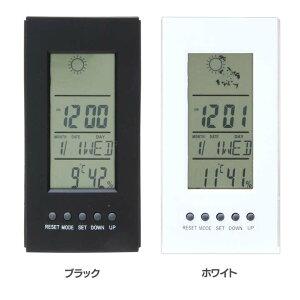 ミニ置時計 デジタル 多機能付き 99067・99068置き時計 デジタル 実用性 おしゃれ オシャレ 実用的 機能的 シンプル 四角 湿度計 温度計 カレンダー付き アラーム クロック 天気表示 不二貿易