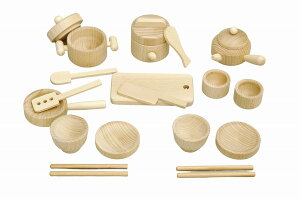 【送料無料】森のお食事セット   ST取得 無塗装 日本製 木のおもちゃ 木製 木 おもちゃ 立体玩具 おうち遊び キッチン セット 料理器具 卓上 カート ままごと 完成品 食事 フライパン 調理器