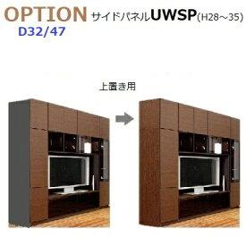 壁面収納すえ木工MG-3 サイドパネル上置用 UWSP-H28-35(左右共通) 厚さ20mm D47/D32 高さ280〜350mm