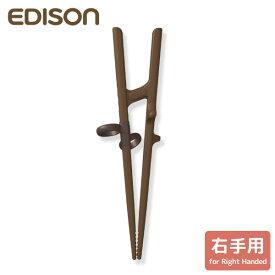(新)エジソンのお箸 III 右手用 20cm ブラウン手の大きい方・成人男性向 矯正箸 矯正おはし 右きき用右利き用 箸使い 持ち方 chopsticks 練習