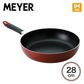 マイヤー フジマルIH レッド フライパン28cm FI-P28フライパン アルミニウム IH 熱源 ふっ素 フッ素 樹脂 効率 多用途素早い 調理 熱伝導 こびりつきにくい 耐久性 丈夫 金属ヘラ MEYER