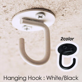 アイアン ハンギングフック (White・Black)OPEN型 /吊り金具 園芸 収納【メール便発送可】