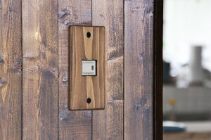 【メール便可】木製スイッチプレート(ライトオーク)アンティーク風/スイッチカバー電気コンセントプレートdiy交換
