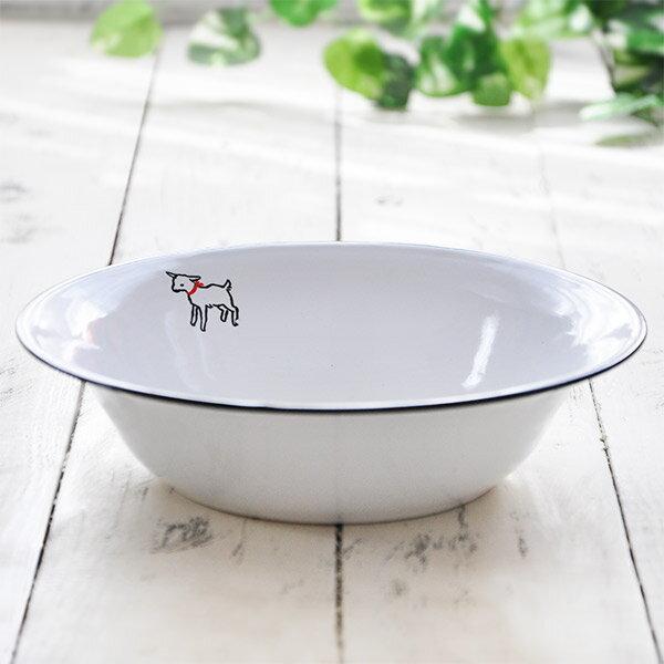 『ホーロー 洗面器』子ヤギデザイン ウォッシュベイシン ホワイト/洗い桶 白 琺瑯 ほうろう 缶 容器 雑貨 アンティーク風