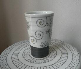 【hanaグラス(大)】グラス カップ フリーカップ 花柄 手描き 手作り 陶器【砥部焼】【陶彩窯】