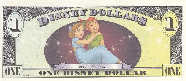 ディズニーダラーフック船長&ピーターパン1ドル紙幣2013年未使用