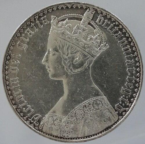 イギリス ゴチック クラウン銀貨 アンデシモ 1847年 極美-(少洗い)