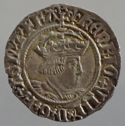 中世イギリス ヘンリー8世 Halfgroat(2ペンス)銀貨 1526-1544年 NEF