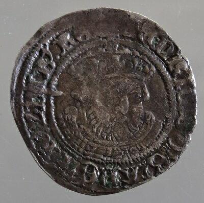 中世イギリス ヘンリー8世 Halfgroat(2ペンス)銀貨 1544-1547年 GVF
