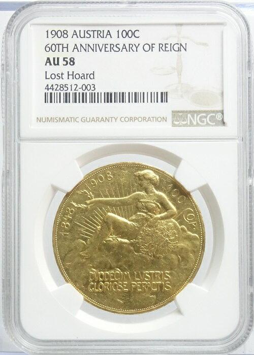 オーストリアフランツ・ヨーゼフ1世60周年記念雲上の女神100クローネ金貨1908年NGC鑑定【AU58】