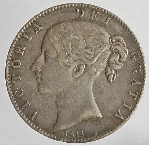 イギリス ヴィクトリア女王 ヤングヘッド クラウン銀貨 Cinquefoil stops 1844年 美品