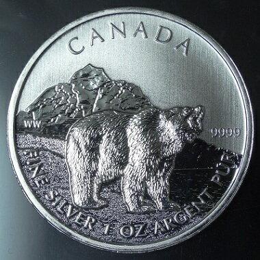 カナダ野生動物シリーズグリズリーベア 5ドル銀貨2011年