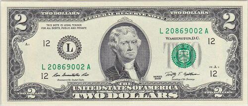 アメリカ 2ドル紙幣 未使用