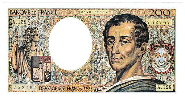 フランス 哲学者シャルル・ド・モンテスキュー 200フラン紙幣 1992年 未使用