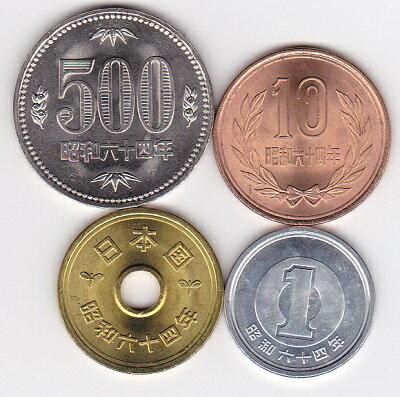 昭和最後の年号 昭和64年(1989)500円 10円 5円 1円硬貨4枚セット 未使用