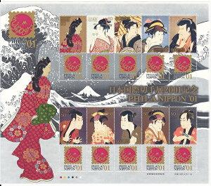 【切手シート】東京国際切手展2001 80円5面・50円5面シート 平成13年(2001)