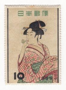 【切手】切手趣味週間 ビードロをふく娘(喜多川歌麿)10円1枚 昭和30年(1955)