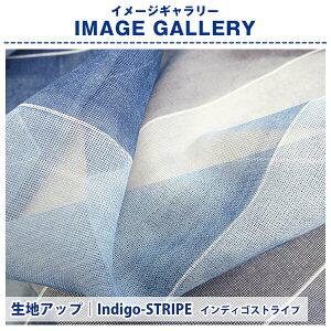大人っぽくカジュアルに天然ライクなシャリ感インディゴデザインレースカーテン「ストライプ・ドット」Aサイズ:幅100cm×丈78〜148cm×2枚組