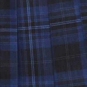 【日本製】KURI-ORI★クリオリW60丈42スリーシーズンスカートWKR81ブルー×濃紺制服プリーツスカート