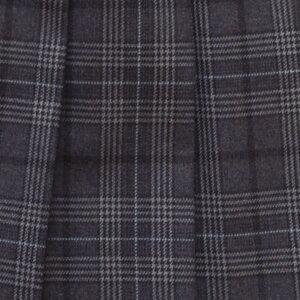 KURI-ORI★クリオリ【日本製】W60丈48スリーシーズンスカートWKR86グレーグレンチェック・グリーンライン制服プリーツスカート