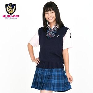 KURI-ORI★クリオリコットン混ベスト【日本製】紺ワンポイントKC905