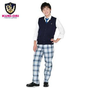 KURI-ORI★クリオリサマースラックスW73〜W82SKRB227S2白×サックス・青スリムシルエットツータック【日本製】