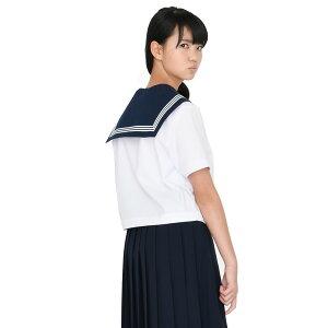 KURI-ORI★クリオリ白セーラートップス・紺エリ半袖155Aから175AKR8280【日本製】