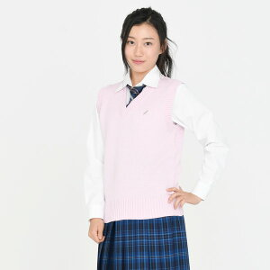 KURI-ORI★クリオリコットン混ベスト【日本製】ピンクワンポイントKC905