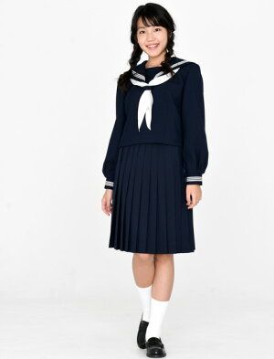 KURI-ORI★クリオリ★紺セーラートップス・冬用長袖155A〜175AKR8180【日本製】