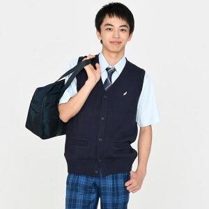 KURI-ORI★クリオリKC705コットン混前開きベスト【日本製】紺羽マークワンポイント