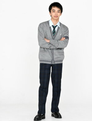 KURI-ORI★クリオリスリーシーズンスラックスWKRB413S0ダークグレー×紺W100スリムノータック【日本製】【送料無料】制服ズボン大きいサイズ