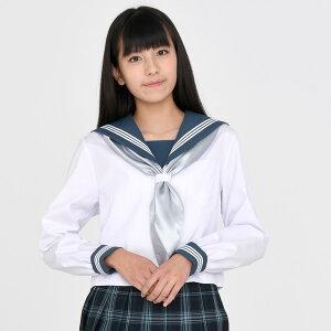 KURI-ORI★クリオリ白セーラートップス・グリーン襟長袖KR19414H【日本製】白ボディにスモーキーなグリーン×白ラインの襟とカフスのセーラー服制服・通学服・レギュラーサイズ160A170A#nsl