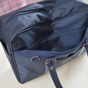 【KURI-ORI】【日本製】オリジナルエンブレム付きスクールバッグ紺人気の持ち手合皮タイプ!KRBG12