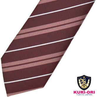 KURI-ORI Seifuku KRN180 necktie crimson red, pink, white stripes