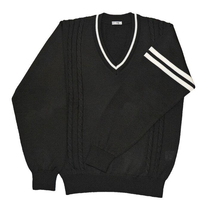 KURI-ORI★クリオリ 【日本製】KAL901Bウール混トラッドセーター黒×オフ白ライン映画「覆面系ノイズ」で着用されています