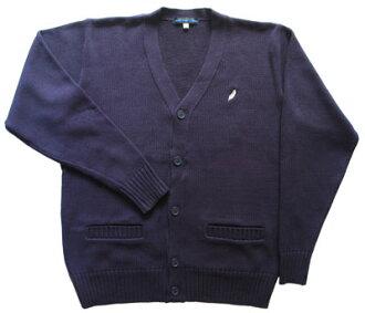 KURI-ORI的原创学院风 男女皆宜的 对襟毛衣 棉混纺 蓝色  有银色的刺绣花纹 KC805N