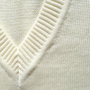 【日本製】男女兼用ウール混セーターVY900Wオフ白無地プレーンなスクールセーター