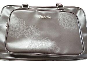 【OLIVEdesOLIVE】スクールバッグ茶レースプリント合皮バッグ2K30002ロゴシルバー刺繍入り通学カバンオリーブデオリーブスクールスクバ