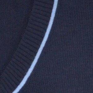 【中学・高校生の通学に!】スクールニットベスト紺に水色のブイラインサイズS,L,LL【日本製】アクリル・ウール