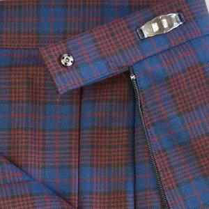 W914-2SKT60-72明るい紺×エンジのタータンチェックスリーシーズンスカートW60〜72、丈48〜54まで各種!再入荷なし在庫限り☆