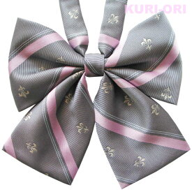 KURI-ORI[クリオリ]オリジナルリボンタイ KRR56グレー×ピンク ユリクレスト【日本製】制服リボン