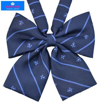 KURI-ORI Seifuku KRR63 ribbon tie mini-lily crest dark blue