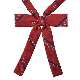 KURI-ORI Seifuku KRRHR22 ribbon tie red note pattern narrow type