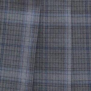 KURI-ORI★クリオリW66丈42サマースカートSKR414グレーグレンチェック紺ライン制服プリーツスカート【日本製】【送料無料】夏服スカート