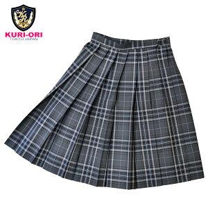 KURI-ORI★クリオリW60丈54サマースカートSKR89グレーチェック水色制服プリーツスカート【日本製】【送料無料】